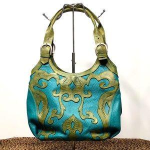 teal green handbag hobo Leaders in Leather vintage
